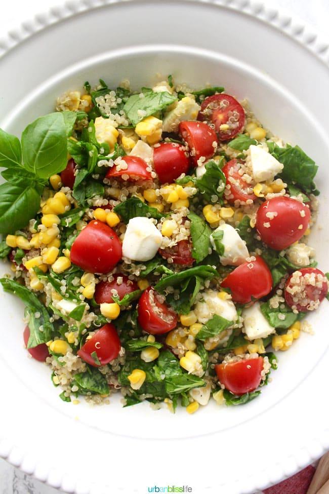 Food Bliss: Summer Corn & Quinoa Caprese Salad - Urban ...