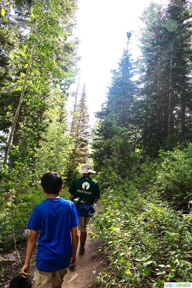 two people hiking the Silver Lake Trail near Park City, Utah