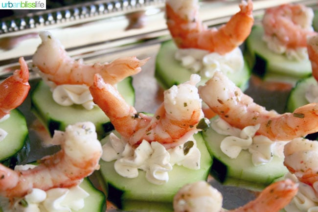 Food bliss easy entertaining shrimp cucumber canap s two for Party canape ideas
