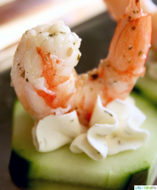 close up of shrimp cucumber canapes