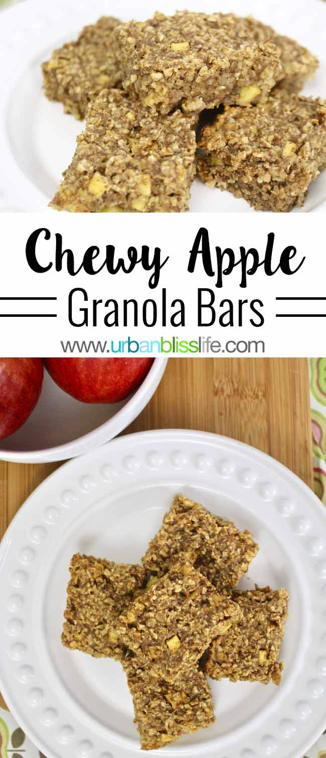 Chewy Apple Granola Bars recipe on UrbanBlissLife.com
