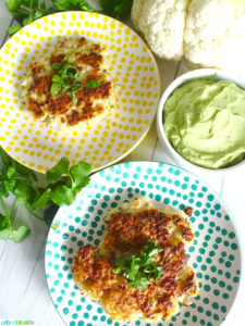 Cauliflower Fritters with Dairy-Free Avocado Aioli recipe on UrbanBlissLife.com