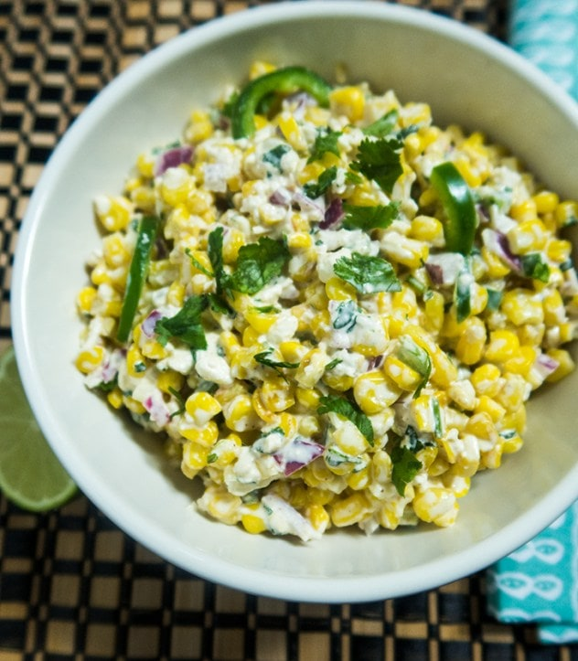 Football Party Finger Food- mexican street corn salad