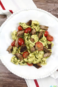 Easy and Delicious Steak Pesto Tortellini recipe on UrbanBlissLife.com