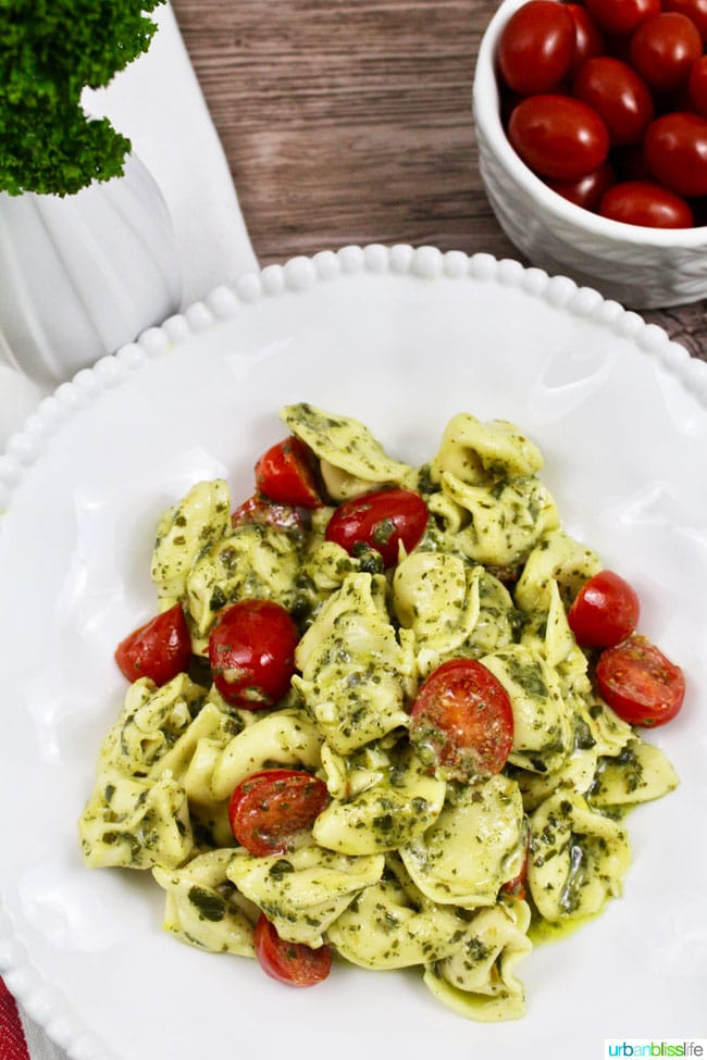 Easy and Delicious Steak and Pesto Tortellini recipe that can be made vegetarian, on UrbanBlissLife.com