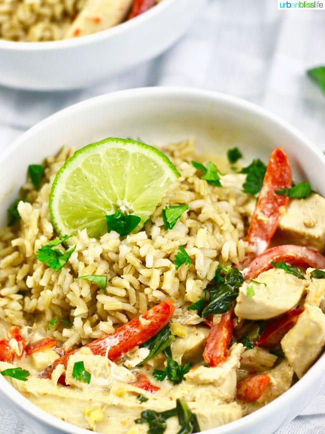 Healthy, Fast, Delicious Thai Coconut Chicken recipe on UrbanBlissLife.com
