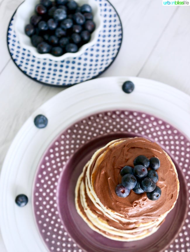 Pancake Cake Stacks with Dairy-Free Chocolate Frosting recipe on UrbanBlissLife.com