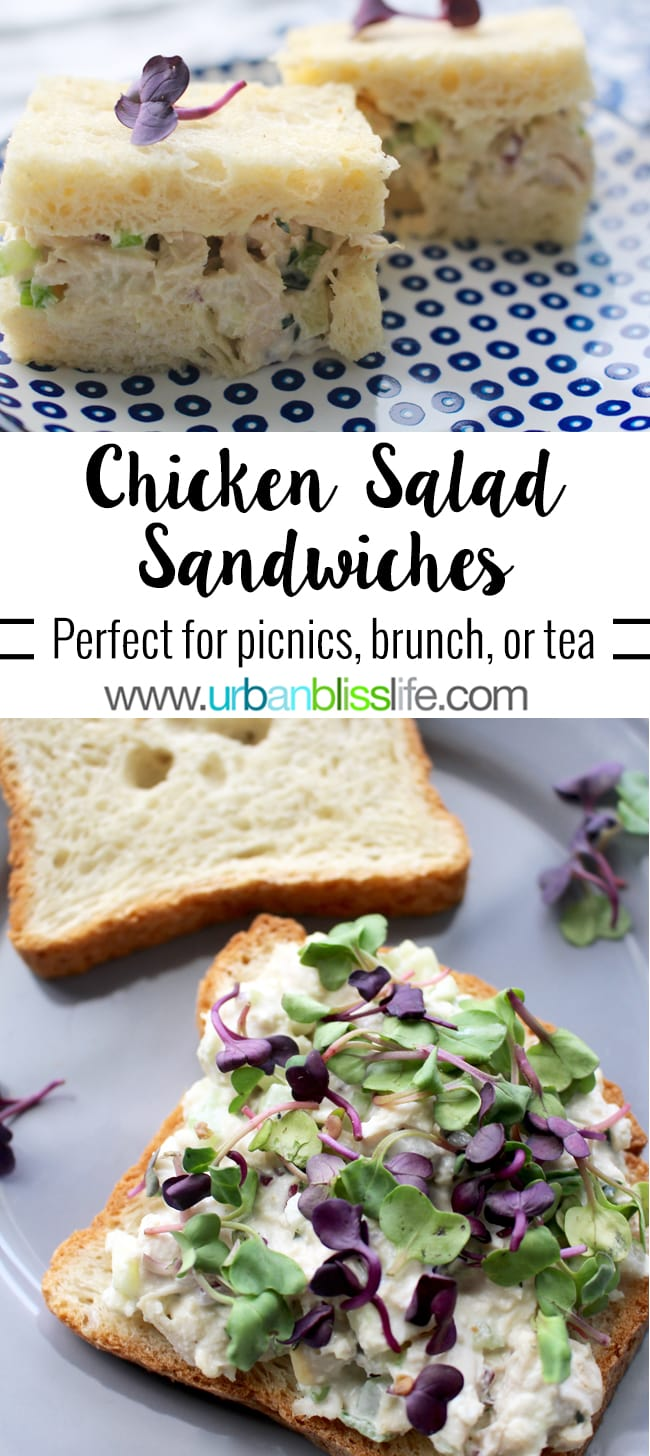 Classic Chicken Salad Sandwiches, perfect for picnics, brunch, and afternoon tea sandwiches. Recipe on UrbanBlissLife.com.