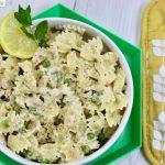Creamy Farfalle with Salmon and Peas pasta recipe on UrbanBlissLife.com
