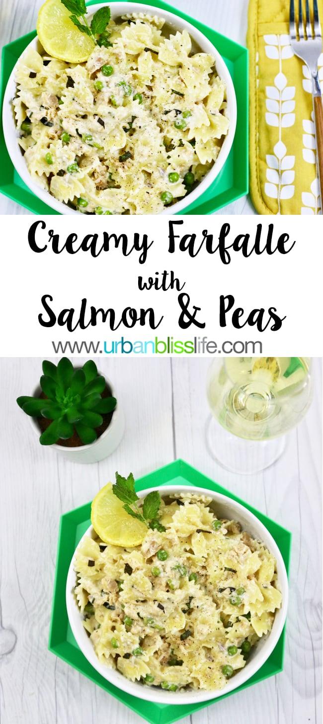 Salmon pasta recipe - Creamy farfalle with salmon and peas on UrbanBlissLife.com