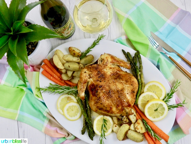 Easy Lemon Herb Roast Chicken with roasted vegetables, recipe on UrbanBlissLife.com