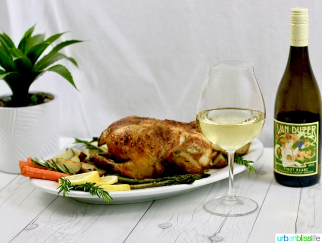 white wine and roast chicken