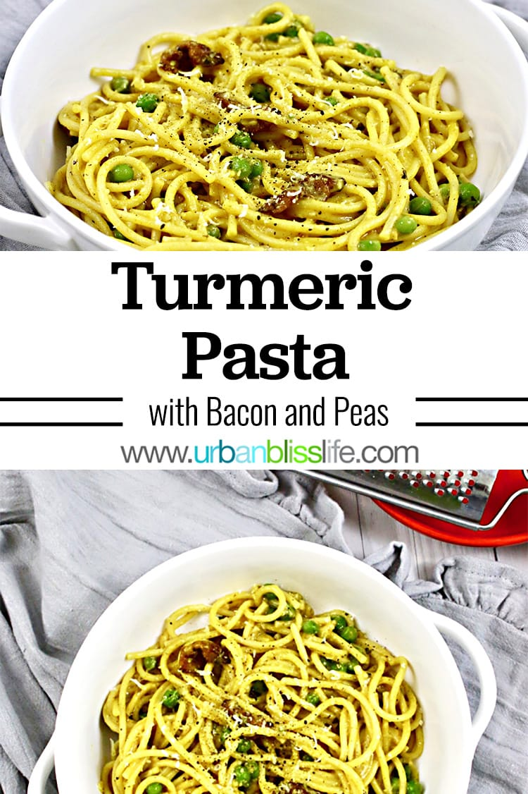 Turmeric pasta with bacon and peas