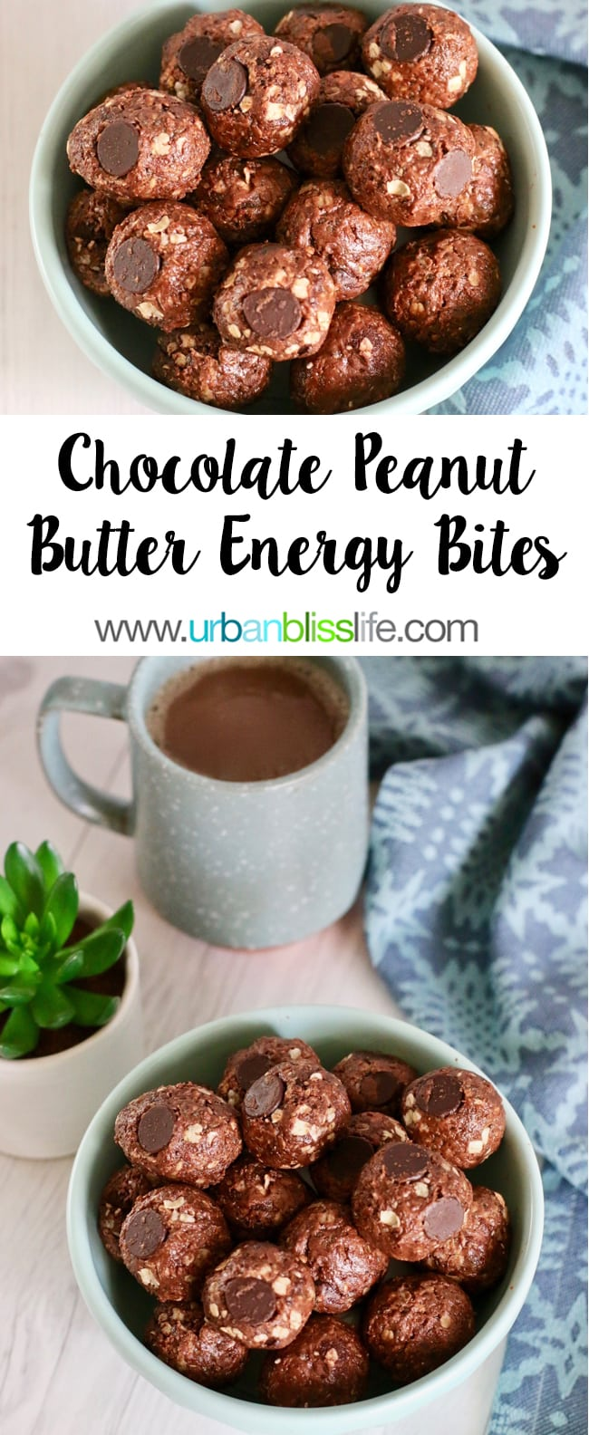 Chocolate Peanut Butter Energy Balls recipe on UrbanBlissLife.com