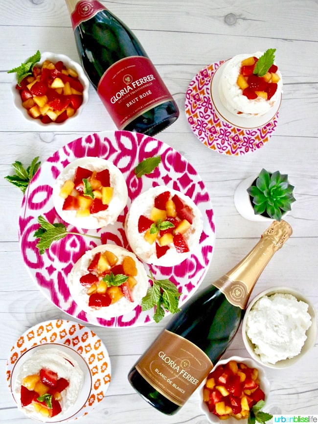 Gloria Ferrer brut rose with Mini Pavlova Cakes