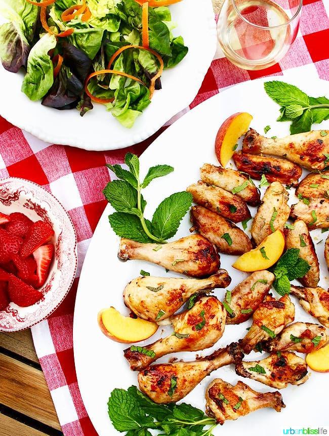 Peach Bourbon Grilled Chicken recipe on UrbanBlissLife.com