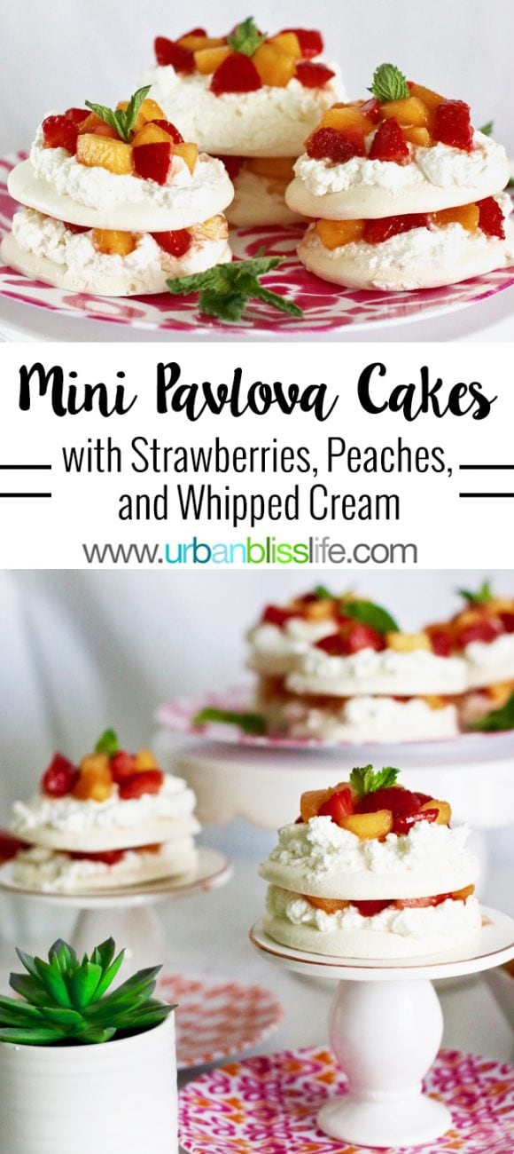 Mini Pavlova Cakes with Strawberries, Peaches, and Cream
