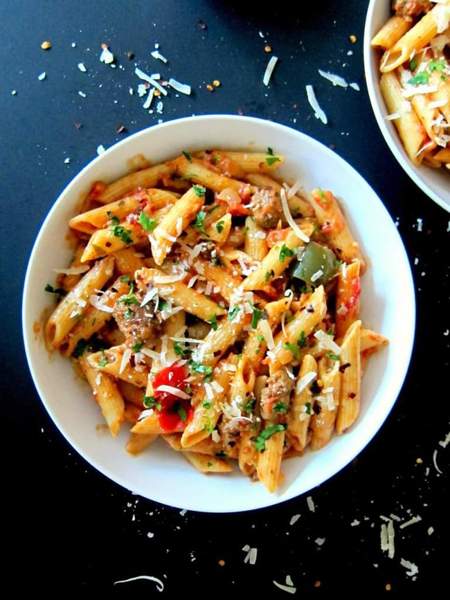15 Family Friendly Instant Pot Recipes: Instant Pot Penne with Sausage in Tomato Cream Sauce