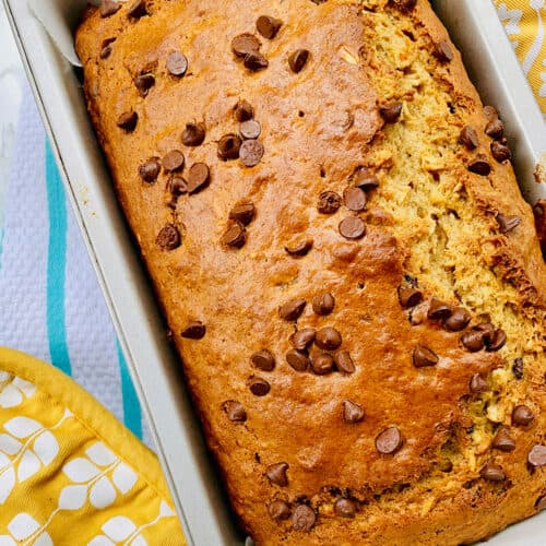 best chocolate chip banana bread in a loaf pan