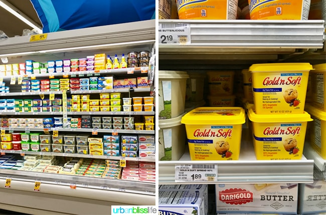 various butter spreads in supermarket