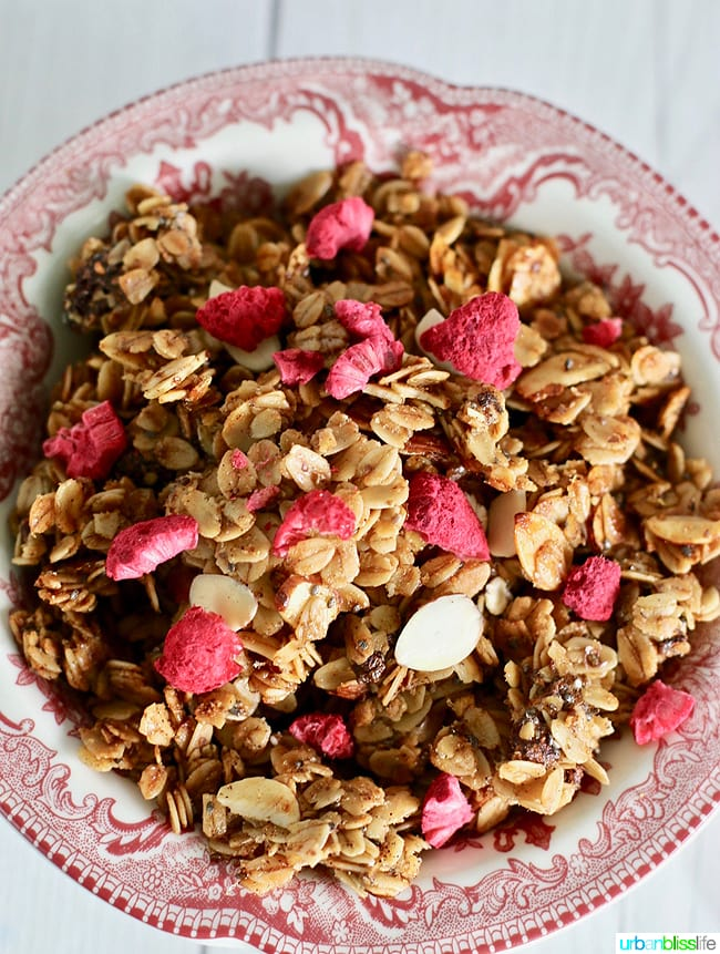 This homemade granola recipe with Brown Butter and Almonds is easy to make and delicious! Recipe on UrbanBlissLife.com