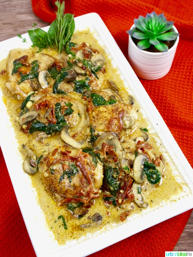 Creamy Sun-Dried Tomato Chicken with Mushrooms and Spinach Sauce recipe on UrbanBlissLife.com
