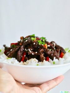 Hearty, delicious Slow Cooker Mongolian Beef recipe on UrbanBlissLife.com