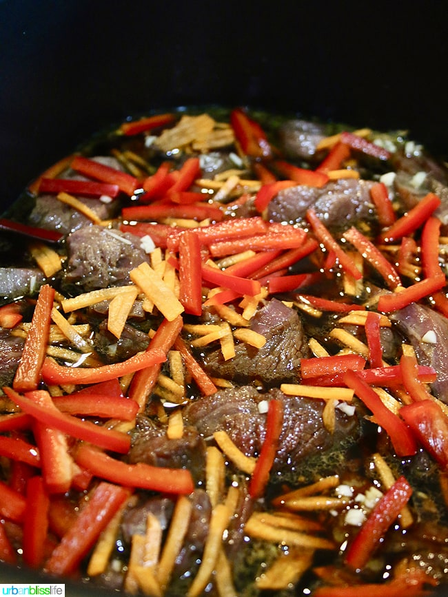 Slow Cooker Mongolian Beef with veggies