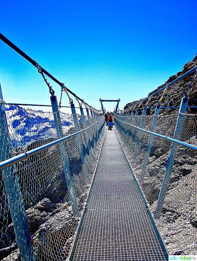 europe's highest suspension bridge on mount titlis