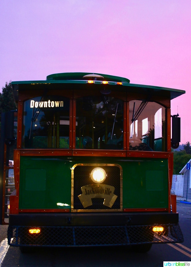 Jacksonville, Oregon trolley at sunset