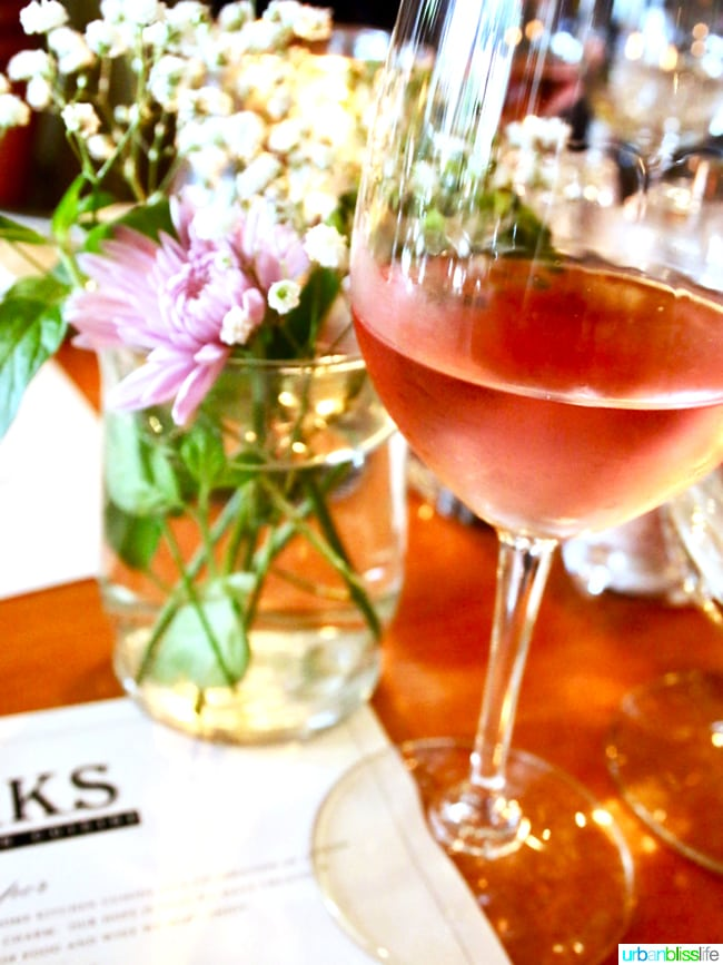 Larks Restaurant rosé wine. Restaurant review on UrbanBlissLife.com