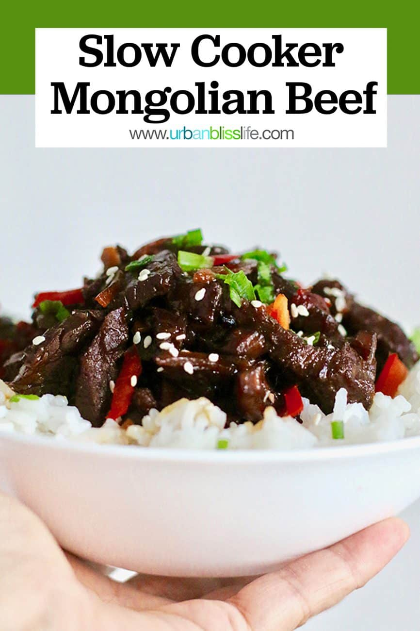 slow cooker mongolian beef in a bowl close up