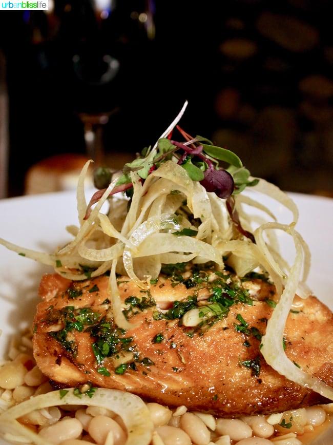 Skamania Lodge Washington salmon dinner. Travel stories & hotel reviews on UrbanBlissLife.com