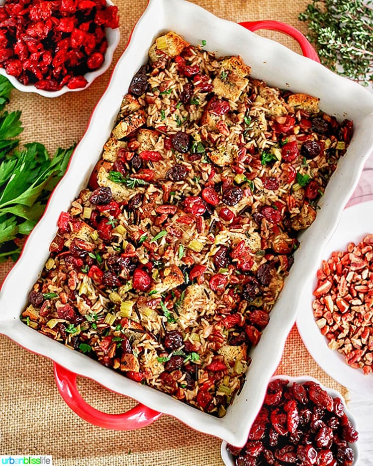 wild rice dressing for thanksgiving table