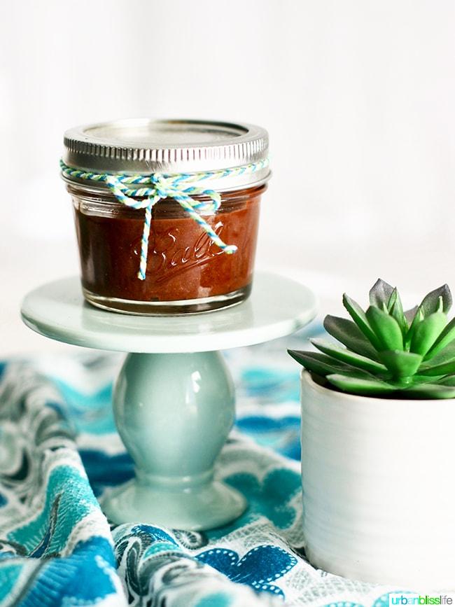 chocolate hazelnut spread in a gift jar