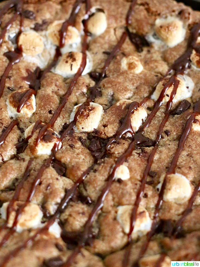 S'mores Pie close up with chocolate hazelnut spread drizzle