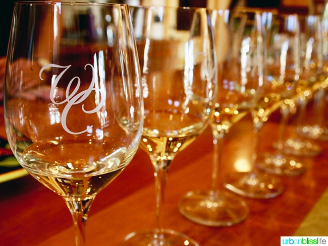 wine glasses at Wooldridge Creek Winery Grants Pass, Oregon Applegate Valley wine tasting and tour, on UrbanBlissLIfe.com