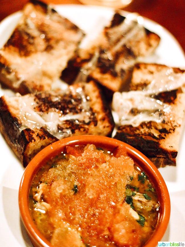 bread with clams conserva at Bar Casa Vale restaurant in Portland, Oregon.