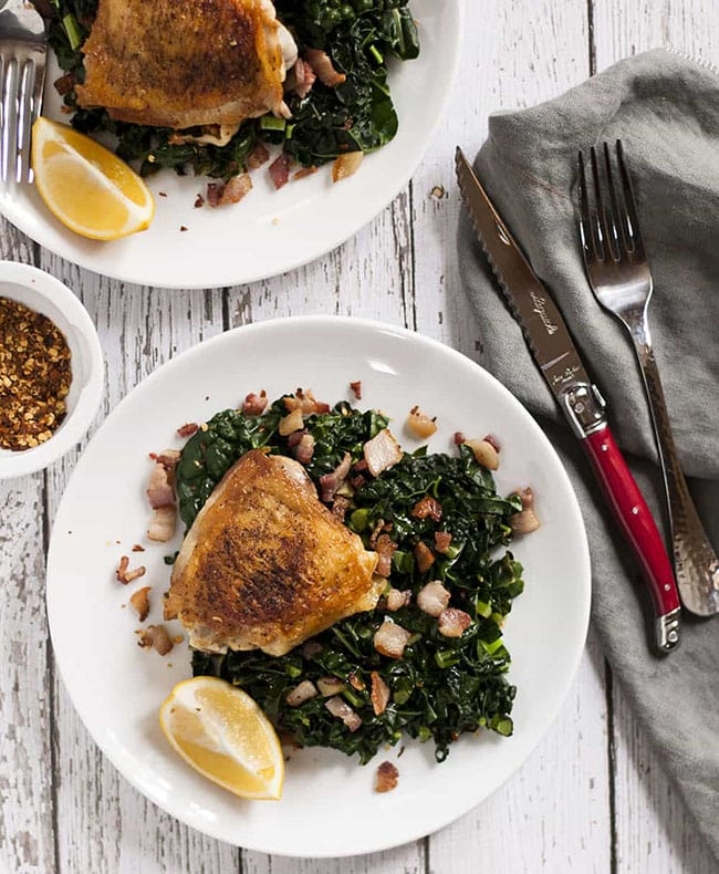 Crispy Chicken Thighs with Garlicky Kale and Bacon