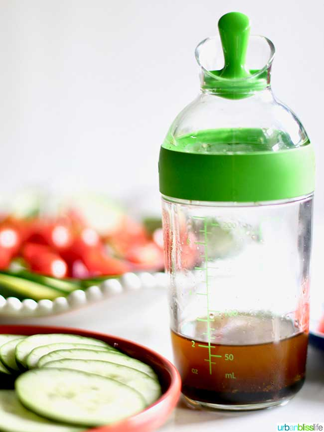 Salad dressing in a bottle