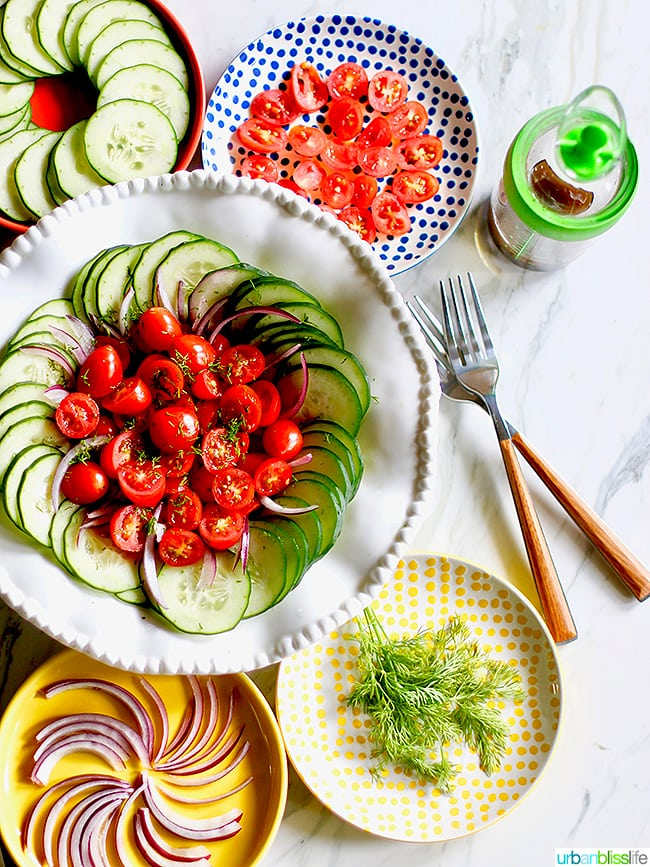 fresh summer vegetables tomatoes cucumbers red onions