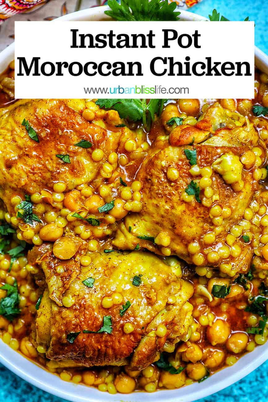 Instant Pot Moroccan Chicken with title text at top