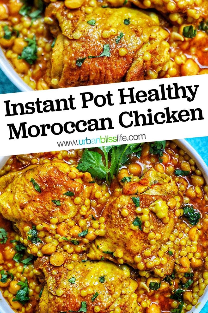 Instant Pot Moroccan Chicken with title text across the top