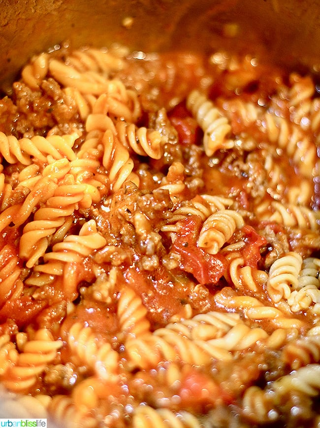 Instant Pot Sausage Peppers & Pasta cooking