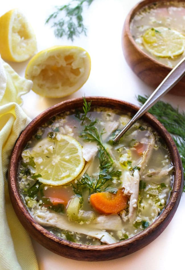 Lemon Chicken Soup with Cauliflower Rice recipe