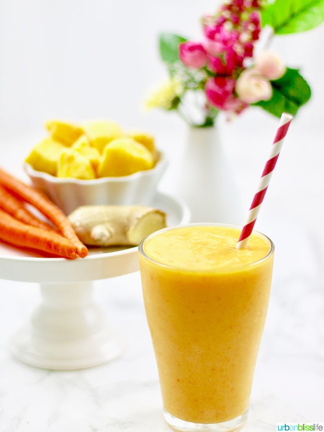 Healthy Smoothie Recipes - Mango Strawberry Carrot Smoothie in a glass