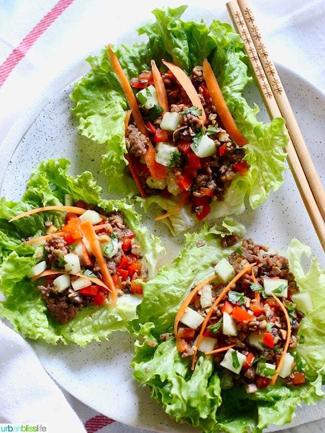 Teriyaki Mushroom Sausage Low Carb Lettuce Wraps