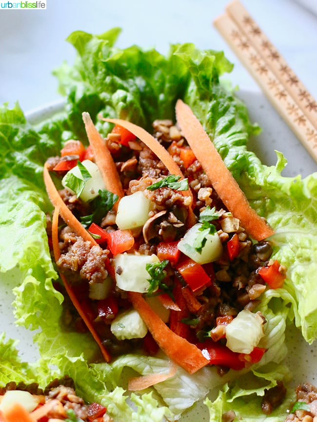 Low carb lettuce wraps - Teriyaki Mushroom Sausage Lettuce Wraps