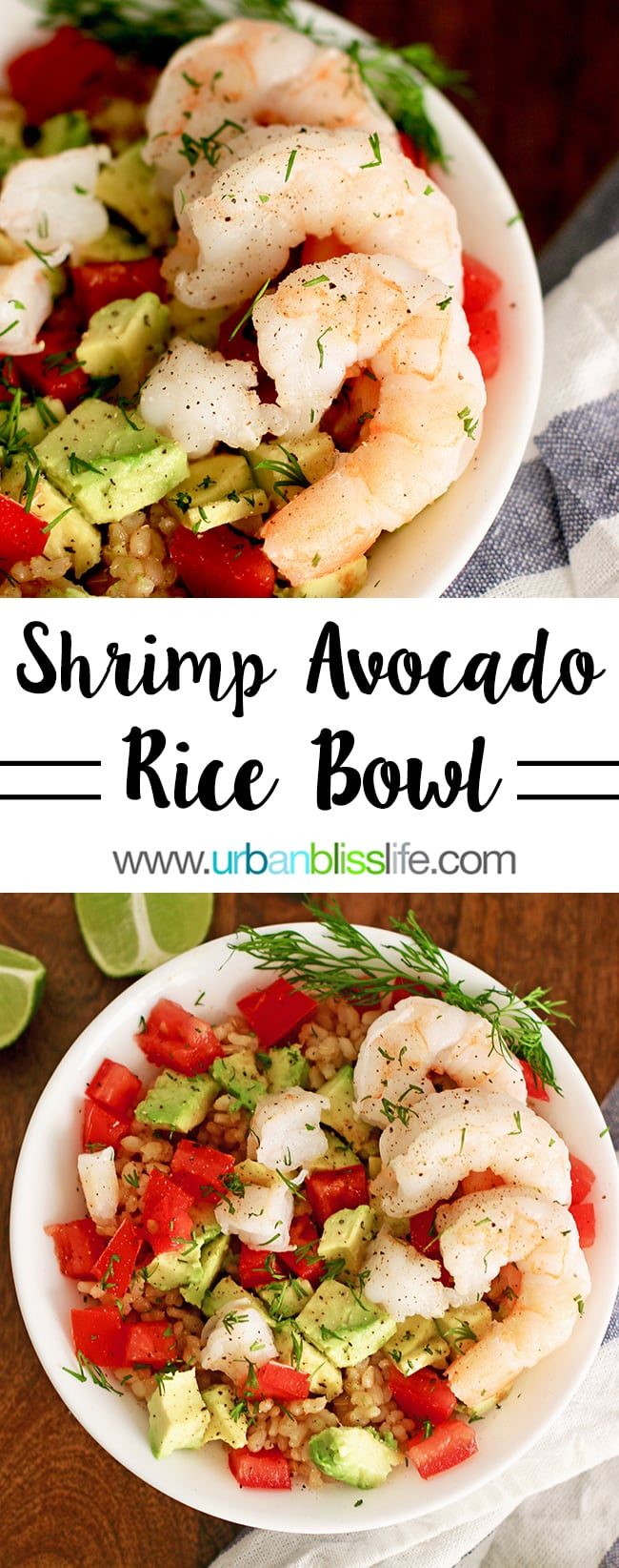 Gluten free dairy free recipes - Shrimp Avocado Brown Rice Bowl on UrbanBlissLife.com