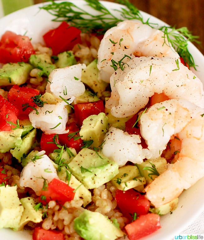 shrimp avocado rice bowl shrimp close up